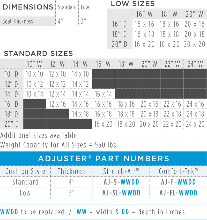 Adjuster Dimensions