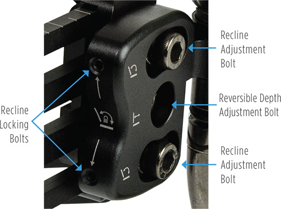 Compass 4 Hardware Depth & Recline Adjustability